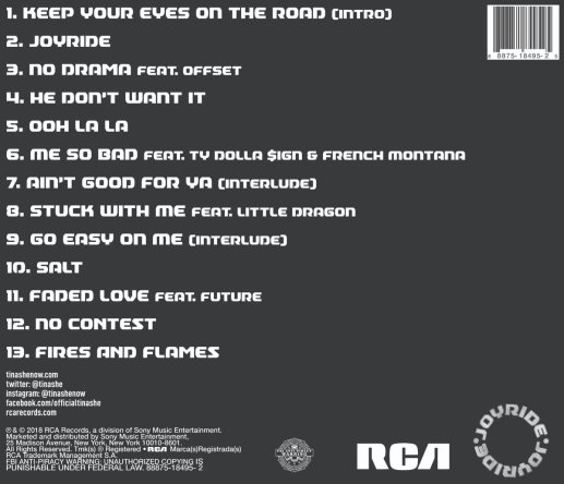 Joyride Tinashe Tracklist